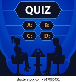 Quiz game vector illustration. Test, exam, answer, education, learning, internet, lottery. Concept for Web, Mobile, Presentations.