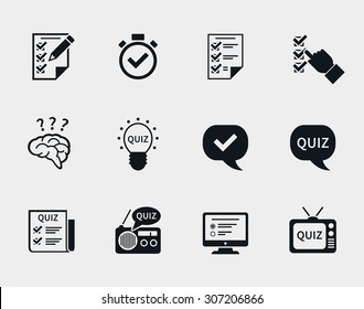 Quiz icon set. Question and answer, questionnaire and information, test and think, document and checklist. Vector illustration