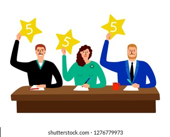 Quiz jury. Competition judge group sitting at table and show opinion scorecards vector illustration. Competition jury with stars rating