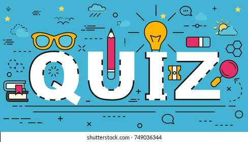 Quiz line concept. Vector illustration. Element template for design.