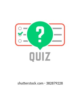 quiz logo with exam test. concept of tv show, support, faq, vote, query, forum, who issue, knowledge verification. flat style trend modern quizz emblem design vector illustration on white background