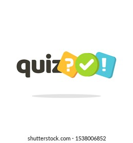 Quiz logo icon vector symbol, flat cartoon bubble speeches with question and check mark signs as competition game or interview logotype, poll or questionnaire modern creative horizontal insignia