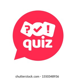 Quiz logo icon vector symbol, flat cartoon red bubble speech with question and check mark signs as competition game or interview logotype, poll or questionnaire modern creative horizontal insignia