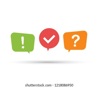 Quiz logo with speech bubble symbols, concept of questionnaire show sing, quiz button. Vector stock illustration.