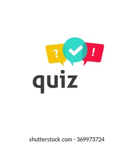 Quiz logo with speech bubble symbols, concept of questionnaire show sing, quiz button, question competition, exam, interview modern emblem design vector illustration isolated on white background