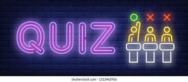 Quiz neon sign. Three competitors on brick wall background. Vector illustration in neon style for banners, posters, flyers, billboards