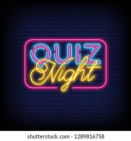 Quiz night announcement poster design  With Brick Wall Background. Quiz night neon signboard  light banner.Pub quiz held in pub or bar  night club.Pub team game. Questions game bright retro light sign