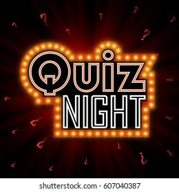 Quiz night announcement poster design web banner background vector illustration. Pub quiz held in a pub or bar, night club. Modern pub team game. Questions game shining retro light banner