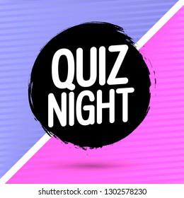 Quiz Night, banner design template, grunge brush, vector illustration