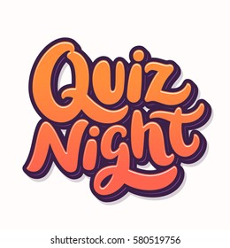 Quiz night. Lettering.