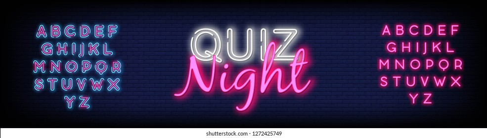 Quiz night neon design template. Quiz night neon signboard  light banner. Pub quiz held in pub or bar  night club. Pub team game. Questions game bright retro light sign. editing text neon. Vector