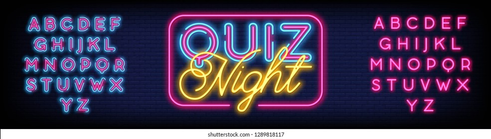 Quiz Night Neon Sign Vector a brick wall background vector  design Questions team game neon signboard  night neon advensing. Vector Illustration. Editing Text Neon Sign