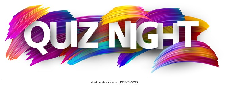 Quiz night poster. Colorful brush design. Vector background.