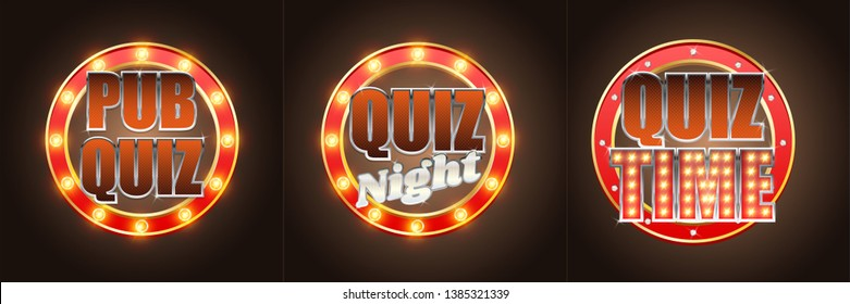 Quiz night time, pub quiz label, signage set, vector illustration. Quiz game retro banners with glowing lights.