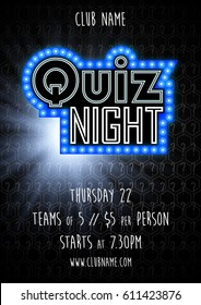 Quiz night vector background