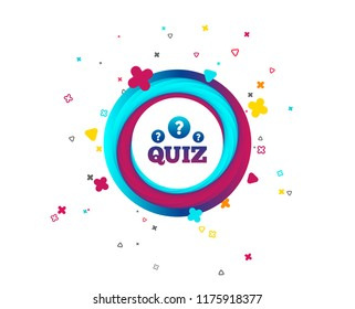 Quiz with question marks sign icon. Questions and answers game symbol. Colorful button with icon. Geometric elements. Vector