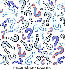 Quiz seamless pattern. Question marks, doubt, faq background. Simple endless repeating motif. Poll, survey, interrogation, query background. Template for opinion poll, public pollVector illustration.