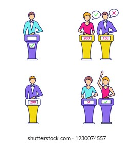 Quiz show color icons set. Intellectual game winner, loser, buzzer systems, players. Isolated vector illustrations