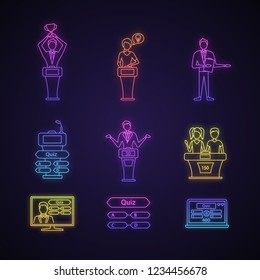 Quiz show neon light icons set. Intellectual game questions, podiums, buzzer systems, players, pub quiz, online and studio games, winners, losers. Glowing signs. Vector isolated illustrations