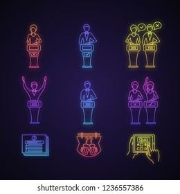 Quiz show neon light icons set. Intellectual game questions, buzzer systems, players, quiz bowl, online, TV, studio games, winners, losers, show host. Glowing signs. Vector isolated illustrations