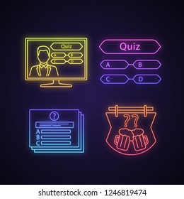 Quiz show neon light icons set. Intellectual game question, TV and pub quiz. Glowing signs. Vector isolated illustrations