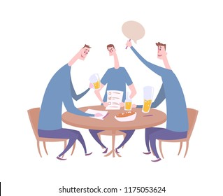 Quiz team giving the answer. Quiz night in the bar, trivia event with three contestants sitting by the table with drinks and snacks. Flat vector illustration. Isolated on white background.