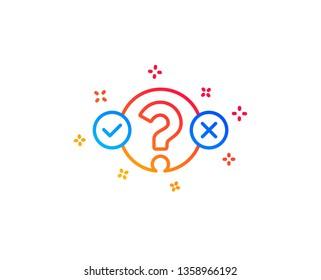 Quiz test line icon. Select answer sign. Business interview symbol. Gradient design elements. Linear quiz test icon. Random shapes. Vector