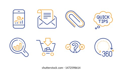 Quiz test, Smartphone statistics and Seo analysis line icons set. Paper clip, Mail newsletter and Quick tips signs. Shopping, 360 degrees symbols. Select answer, Mobile business. Vector