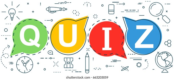 Quiz thin line concept. Vector illustration