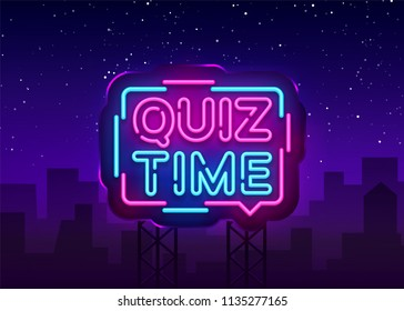 Quiz Time announcement poster neon signboard vector. Pub Quiz vintage styled neon glowing letters shining, Light Banner, Questions team game.Vector illustration. Billboard