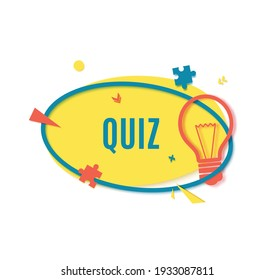 Quiz time banner in paper cut style. Trivia show blue sticker in memphis retro style. 80s 90s banner with yellow bulb sign and puzzle shape. Papercut label. Vector card illustration.