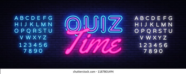 Quiz Time neon sign vector. Quiz Pub Design template neon sign, light banner, neon signboard, nightly bright advertising, light inscription. Vector illustration. Editing text neon sign