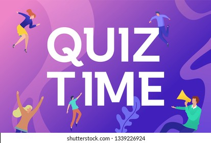 Quiz time vector illustration concept, peoplec asking question and answer the quiz an use for, landing page, template, ui, web, homepage, poster, banner, flyer