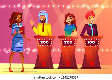 Quiz trivia vector illustration of people in game show studio. Black Afro American woman presenter question Saudi Arabian and Indian man players for answer to push score buttons