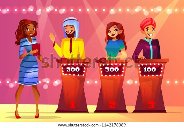 Quiz Trivia Vector Illustration People Game Stock Image