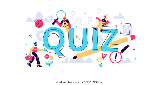 Quiz vector illustration. Flat tiny brain game play process persons concept. Erudition puzzle and fun riddle as leisure, entertainment and mental task. Intelligence examination and solution finding.