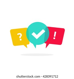 Quiz vector logo isolate on white, questionnaire icon, poll sign, flat bubble speech symbols, concept of social communication, chatting, interview, voting, discussion, talk, team dialog, group chat,