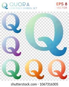 Quora geometric polygonal icons, beautiful mosaic style symbol collection. Overwhelming low poly style, modern design.