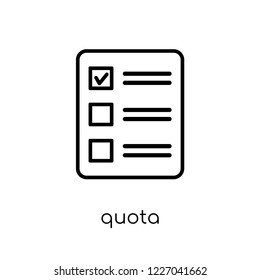 Quota icon. Trendy modern flat linear vector Quota icon on white background from thin line business collection, editable outline stroke vector illustration