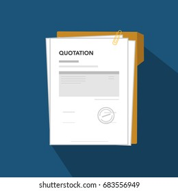 Quotation flat icon illustration, illustration quotation document with paper, template sheet, clip and folder Quotation