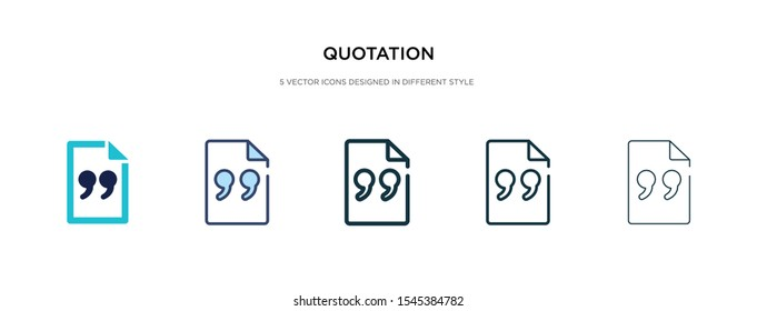 quotation icon in different style vector illustration. two colored and black quotation vector icons designed in filled, outline, line and stroke style can be used for web, mobile, ui