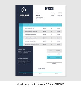 Quotation Invoice Layout Template Paper Sheet Include of Accounting, Price, Tax and Quantity. Vector illustration of Finance Document
