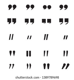 Quotation Mark icon on white background. flat style. Quotation Mark icon for your web site design, logo, app, UI. set double quotes symbol. quotes sign.
