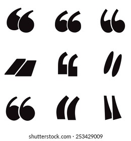 Quotation mark icon set. Vector illustration.