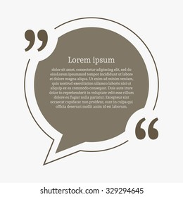 Quotation mark speech bubble. Empty quote blank citation template. Circle design element for business card, paper sheet, information, note, message, motivation, comment etc. Vector illustration.