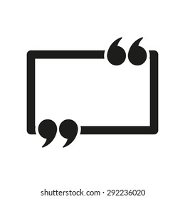 The Quotation Mark Speech Bubble icon. Quotes, citation, opinion symbol. Flat Vector illustration