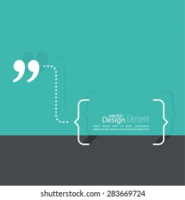 Quotation Mark Speech Bubble. Quote sign icon.  Flat design with shadow