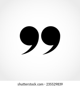 Quotation mark symbol. Double quotes at the end of words Quote sign Icon Isolated on White Background