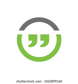 Quotation Marks, Combined With Line Circle, Vector Illustration Design