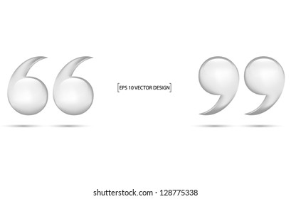 Quotation marks  on white background